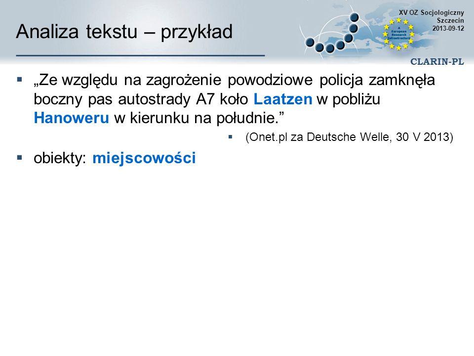 XV OZ Socjologiczny Szczecin 2013-09-12 CLARIN-PL Przykładowe zastosowania Automatyczne wydobywanie słownika typowego dla danej dziedzinie wyrazy i wielowyrazowe terminy, zwroty, nazwy itd.