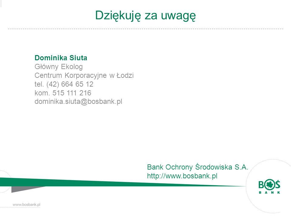 Dziękuję za uwagę Bank Ochrony Środowiska S.A. http://www.bosbank.pl Dominika Siuta Główny Ekolog Centrum Korporacyjne w Łodzi tel. (42) 664 65 12 kom