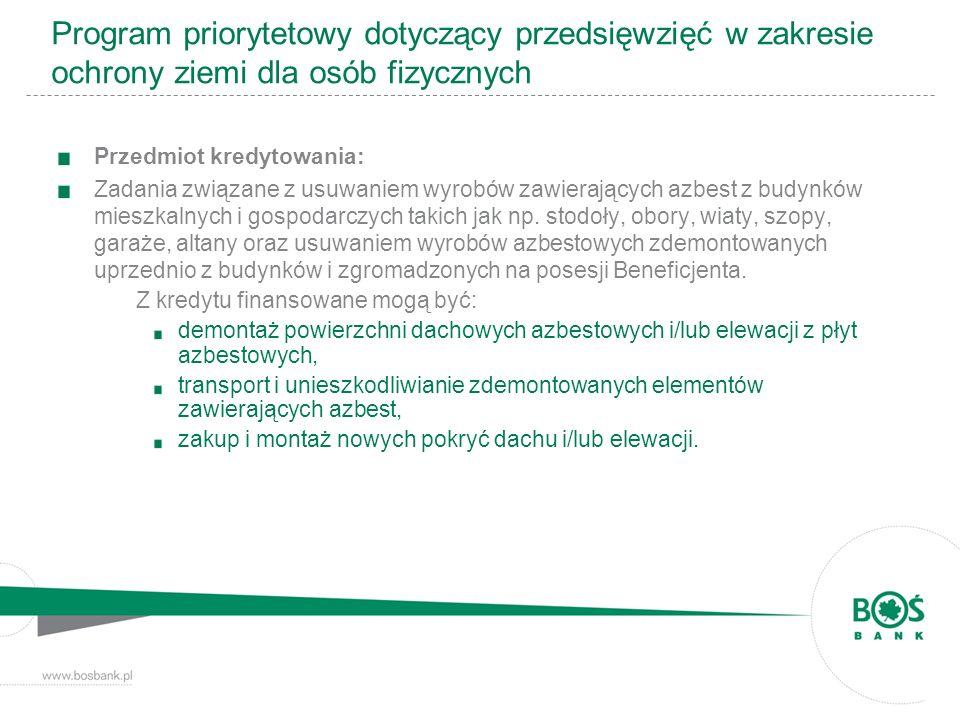Program priorytetowy dotyczący przedsięwzięć w zakresie ochrony ziemi dla osób fizycznych Przedmiot kredytowania: Zadania związane z usuwaniem wyrobów