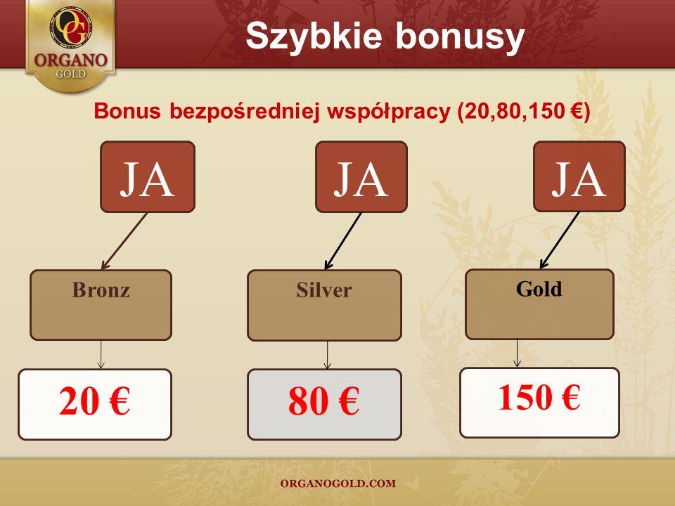 Bonus bezpośredniej współpracy (20,80,150 ) JA Silver 80 JA Gold 150 Szybkie bonusy JA Bronz 20