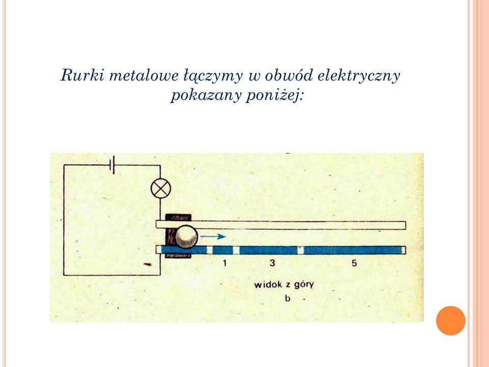Rurki metalowe łączymy w obwód elektryczny pokazany poniżej: