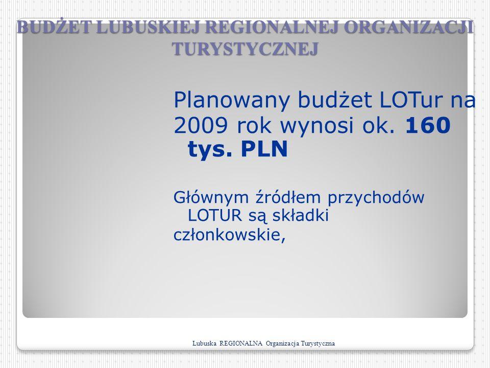 BUDŻET LUBUSKIEJ REGIONALNEJ ORGANIZACJI TURYSTYCZNEJ Planowany budżet LOTur na 2009 rok wynosi ok. 160 tys. PLN Głównym źródłem przychodów LOTUR są s