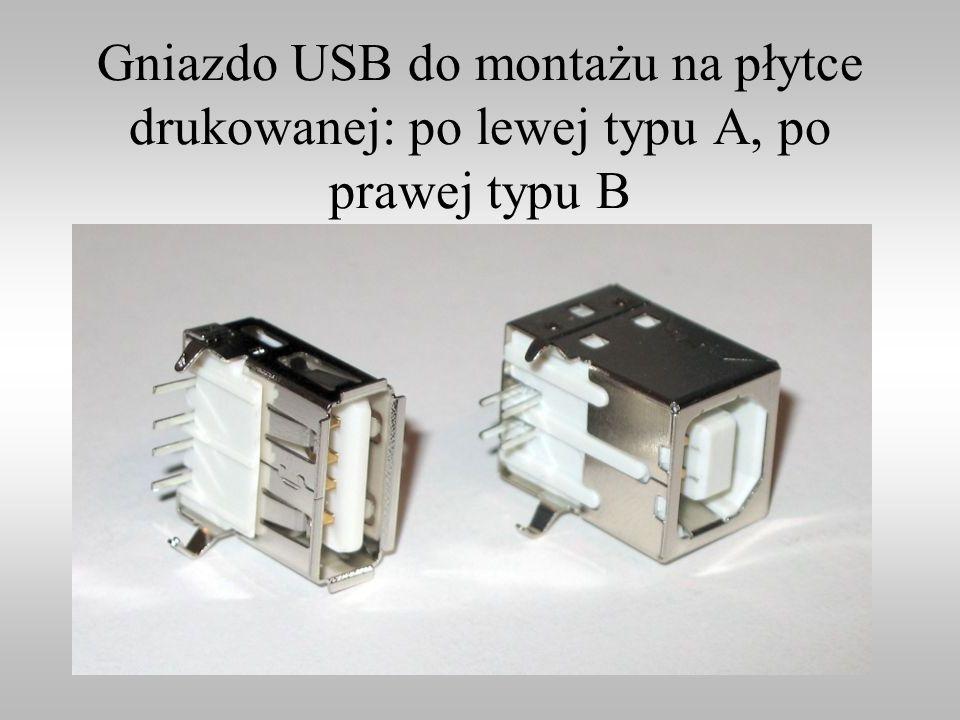 Gniazdo USB do montażu na płytce drukowanej: po lewej typu A, po prawej typu B