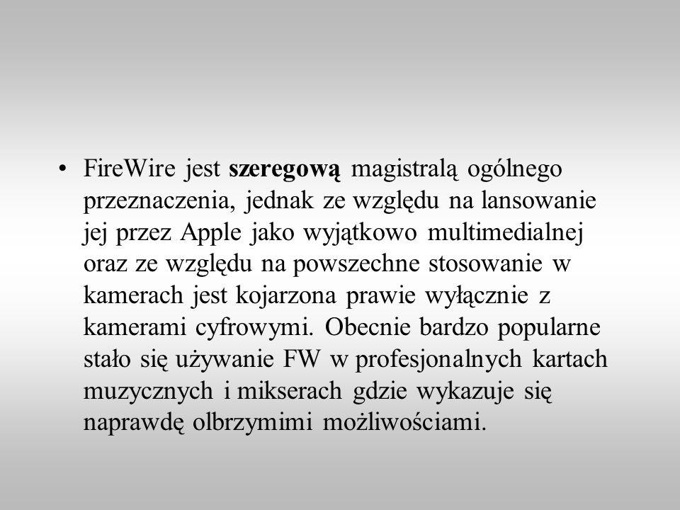 FireWire jest szeregową magistralą ogólnego przeznaczenia, jednak ze względu na lansowanie jej przez Apple jako wyjątkowo multimedialnej oraz ze wzglę