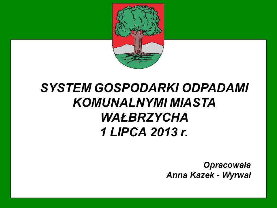 SYSTEM GOSPODARKI ODPADAMI KOMUNALNYMI MIASTA WAŁBRZYCHA 1 LIPCA 2013 r. Opracowała Anna Kazek - Wyrwał