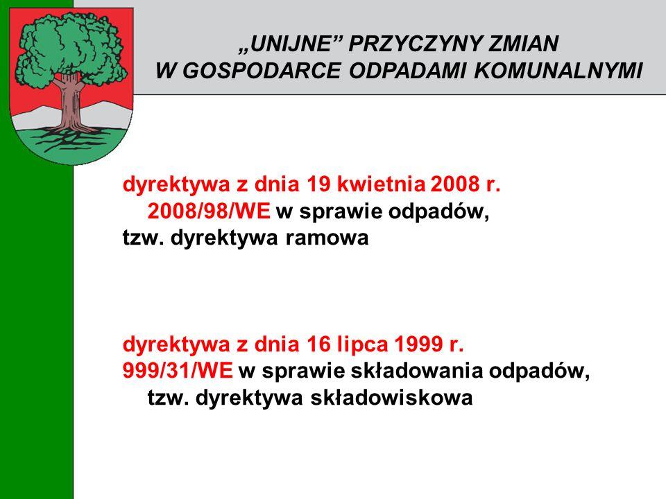 dyrektywa z dnia 19 kwietnia 2008 r. 2008/98/WE w sprawie odpadów, tzw. dyrektywa ramowa dyrektywa z dnia 16 lipca 1999 r. 999/31/WE w sprawie składow
