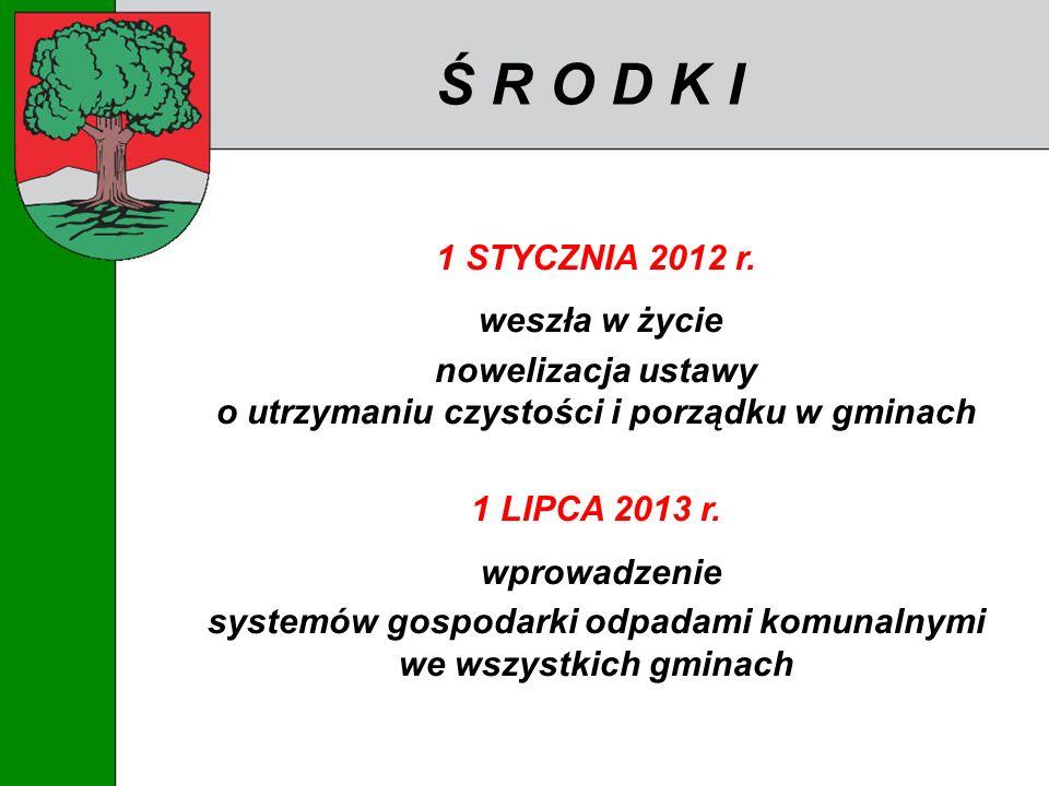 Ś R O D K I 1 STYCZNIA 2012 r. weszła w życie nowelizacja ustawy o utrzymaniu czystości i porządku w gminach 1 LIPCA 2013 r. wprowadzenie systemów gos
