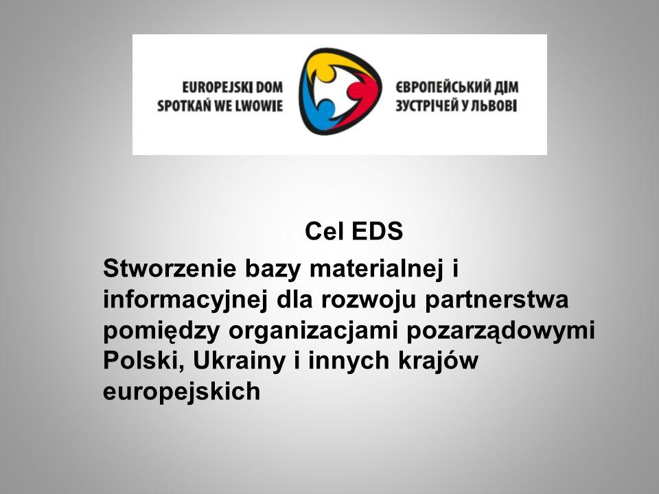 Cel EDS Stworzenie bazy materialnej i informacyjnej dla rozwoju partnerstwa pomiędzy organizacjami pozarządowymi Polski, Ukrainy i innych krajów europ