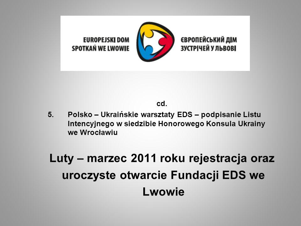 cd. 5.Polsko – Ukraińskie warsztaty EDS – podpisanie Listu Intencyjnego w siedzibie Honorowego Konsula Ukrainy we Wrocławiu Luty – marzec 2011 roku re