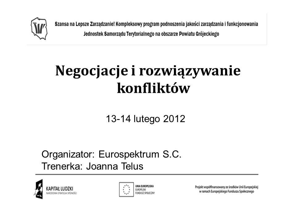 Negocjacje i rozwiązywanie konfliktów 13-14 lutego 2012 Organizator: Eurospektrum S.C. Trenerka: Joanna Telus