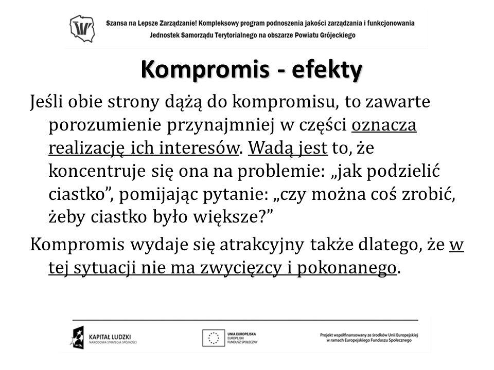 Kompromis - efekty Jeśli obie strony dążą do kompromisu, to zawarte porozumienie przynajmniej w części oznacza realizację ich interesów. Wadą jest to,
