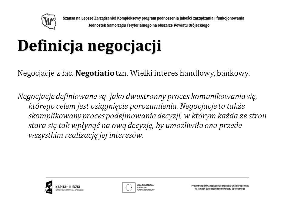 Definicja negocjacji Negotiatio Negocjacje z łac. Negotiatio tzn. Wielki interes handlowy, bankowy. Negocjacje definiowane są jako dwustronny proces k