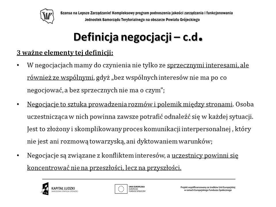 Definicja negocjacji – c.d. 3 ważne elementy tej definicji: W negocjacjach mamy do czynienia nie tylko ze sprzecznymi interesami, ale również ze wspól