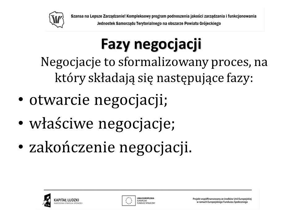 Fazy negocjacji Negocjacje to sformalizowany proces, na który składają się następujące fazy: otwarcie negocjacji; właściwe negocjacje; zakończenie neg