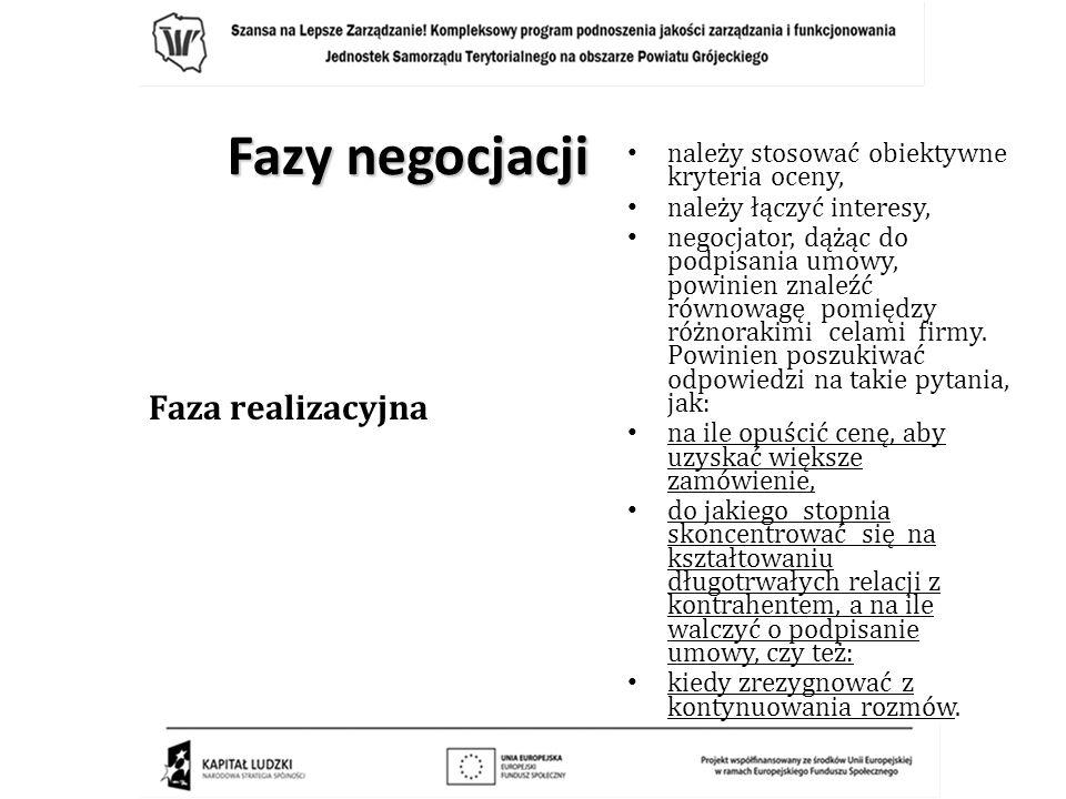 Fazy negocjacji Faza realizacyjna należy stosować obiektywne kryteria oceny, należy łączyć interesy, negocjator, dążąc do podpisania umowy, powinien z