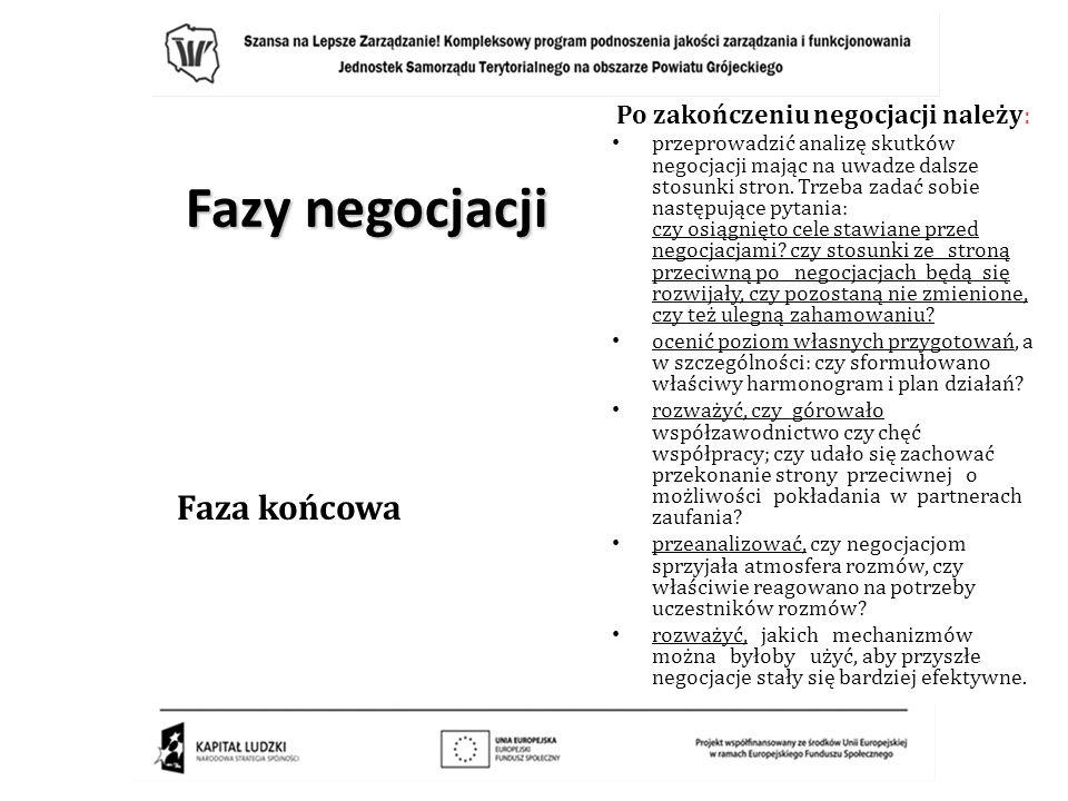 Fazy negocjacji Faza końcowa Po zakończeniu negocjacji należy: przeprowadzić analizę skutków negocjacji mając na uwadze dalsze stosunki stron. Trzeba