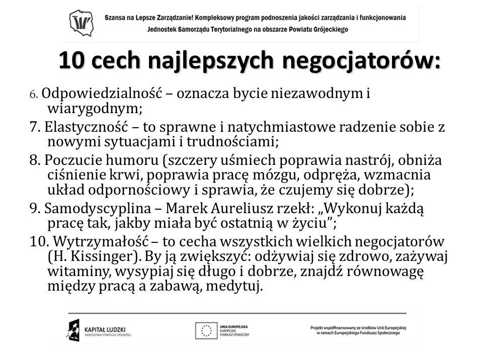 10 cech najlepszych negocjatorów: 6. Odpowiedzialność – oznacza bycie niezawodnym i wiarygodnym; 7. Elastyczność – to sprawne i natychmiastowe radzeni