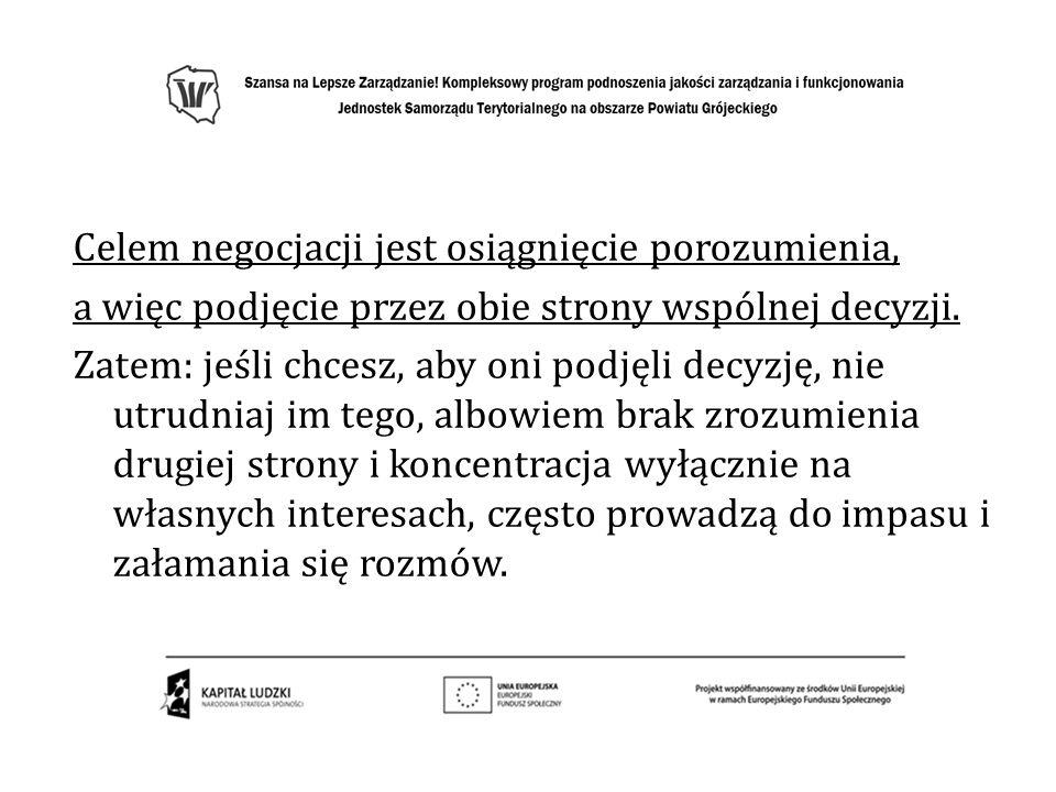 Negocjacje pozycyjne MiękkieTwarde Uczestnicy są przyjaciółmi Celem jest porozumienie.