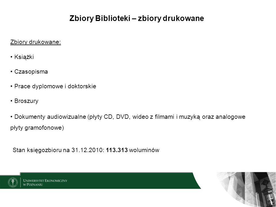 Zbiory Biblioteki – zbiory drukowane Zbiory drukowane: Książki Czasopisma Prace dyplomowe i doktorskie Broszury Dokumenty audiowizualne (płyty CD, DVD
