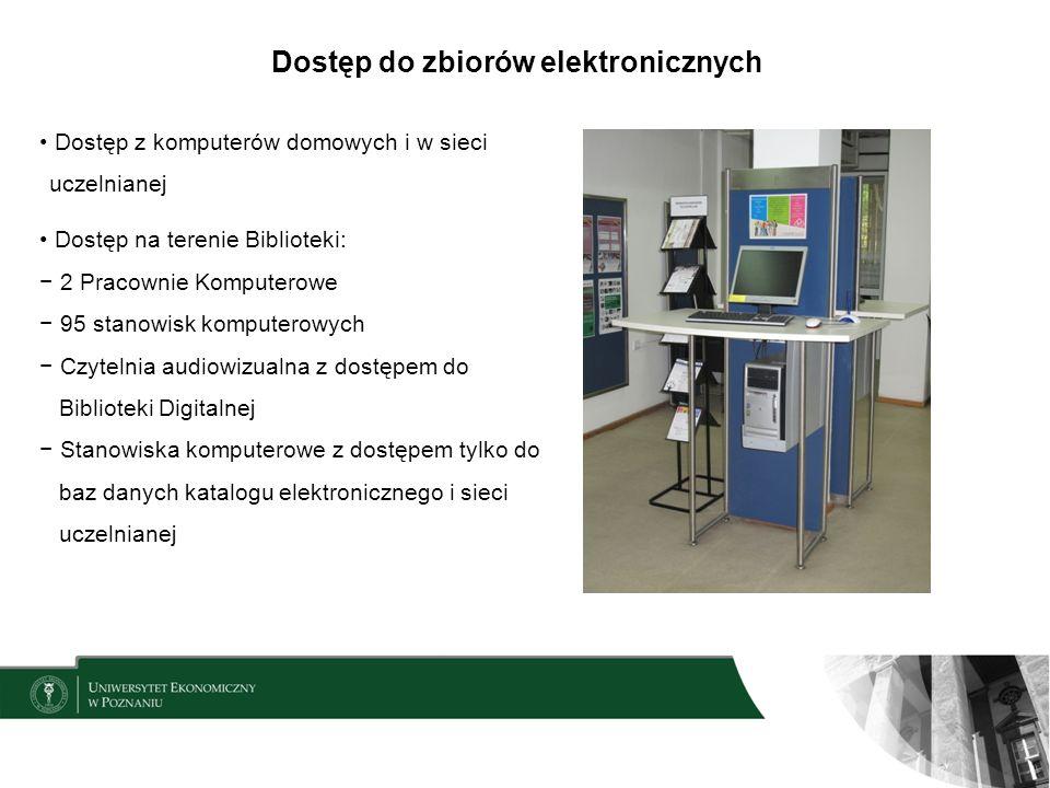 Dostęp do zbiorów elektronicznych Dostęp z komputerów domowych i w sieci uczelnianej Dostęp na terenie Biblioteki: 2 Pracownie Komputerowe 95 stanowis