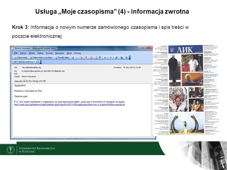 Usługa Moje czasopisma (4) - informacja zwrotna Krok 3: Informacja o nowym numerze zamówionego czasopisma i spis treści w poczcie elektronicznej