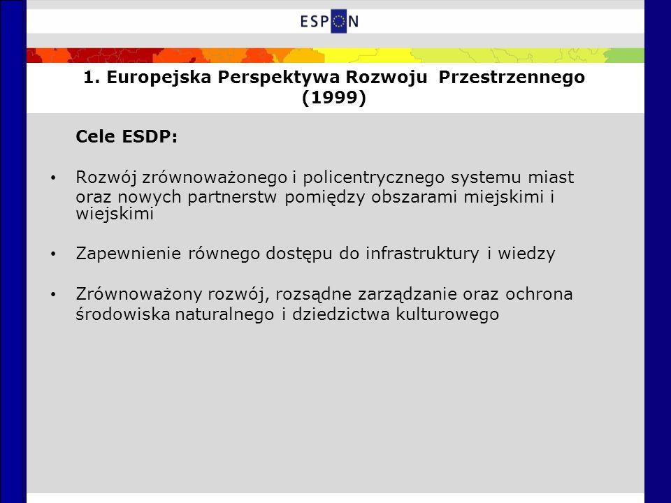 1. Europejska Perspektywa Rozwoju Przestrzennego (1999) Cele ESDP: Rozwój zrównoważonego i policentrycznego systemu miast oraz nowych partnerstw pomię