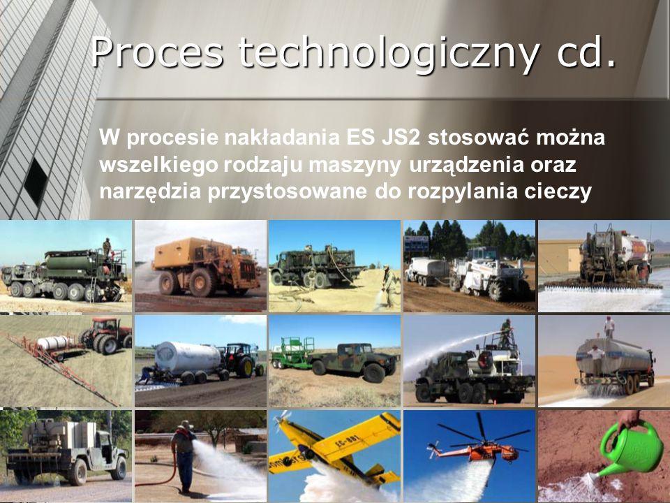 Proces technologiczny cd. W procesie nakładania ES JS2 stosować można wszelkiego rodzaju maszyny urządzenia oraz narzędzia przystosowane do rozpylania