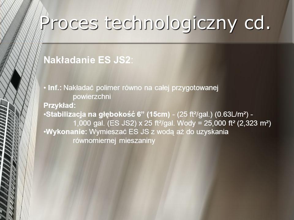 Proces technologiczny cd. Nakładanie ES JS2: Inf.: Nakładać polimer równo na całej przygotowanej powierzchni Przykład: Stabilizacja na głębokość 6 (15