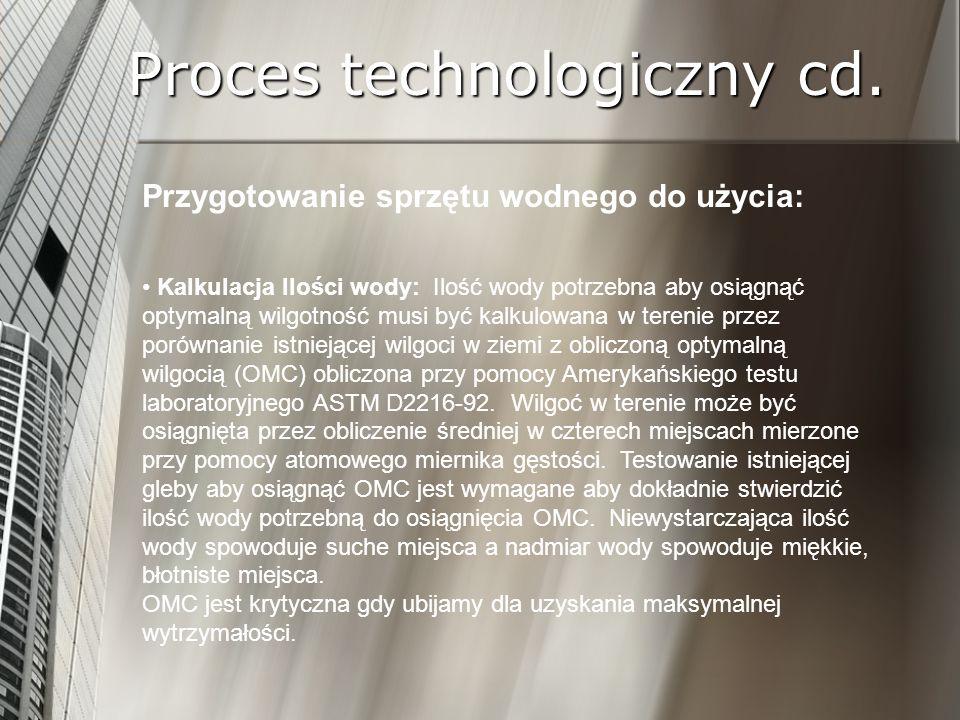 Proces technologiczny cd. Przygotowanie sprzętu wodnego do użycia: Kalkulacja Ilości wody: Ilość wody potrzebna aby osiągnąć optymalną wilgotność musi