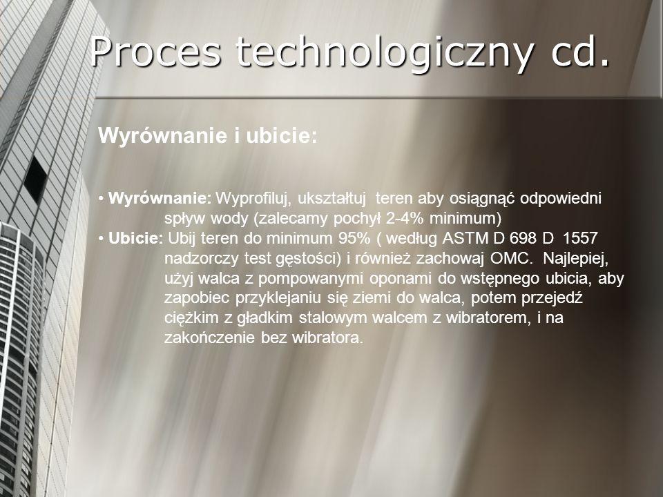 Proces technologiczny cd. Wyrównanie i ubicie: Wyrównanie: Wyprofiluj, ukształtuj teren aby osiągnąć odpowiedni spływ wody (zalecamy pochył 2-4% minim