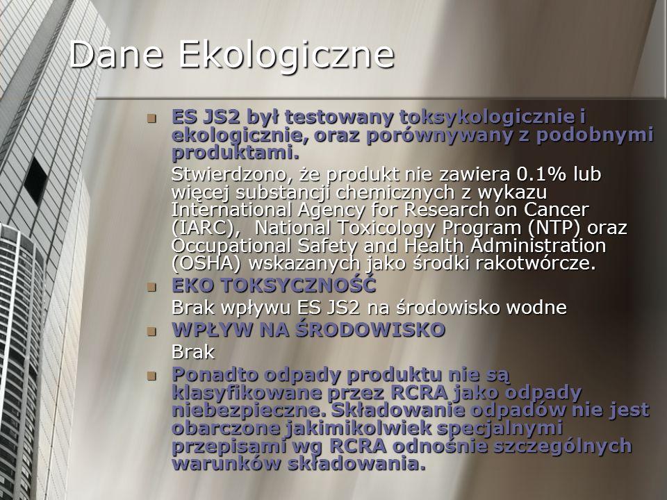 Dane Ekologiczne ES JS2 był testowany toksykologicznie i ekologicznie, oraz porównywany z podobnymi produktami. ES JS2 był testowany toksykologicznie