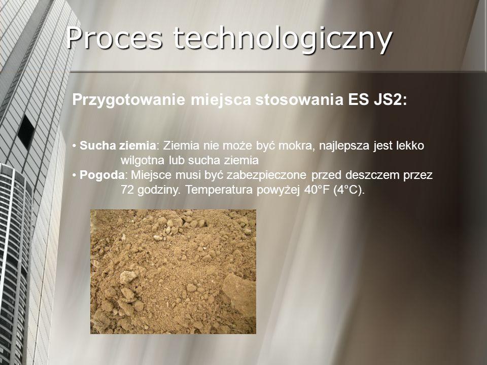 Proces technologiczny Przygotowanie miejsca stosowania ES JS2: Sucha ziemia: Ziemia nie może być mokra, najlepsza jest lekko wilgotna lub sucha ziemia