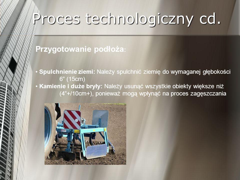 Proces technologiczny cd. Przygotowanie podłoża : Spulchnienie ziemi: Należy spulchnić ziemię do wymaganej głębokości 6 (15cm) Kamienie i duże bryły: