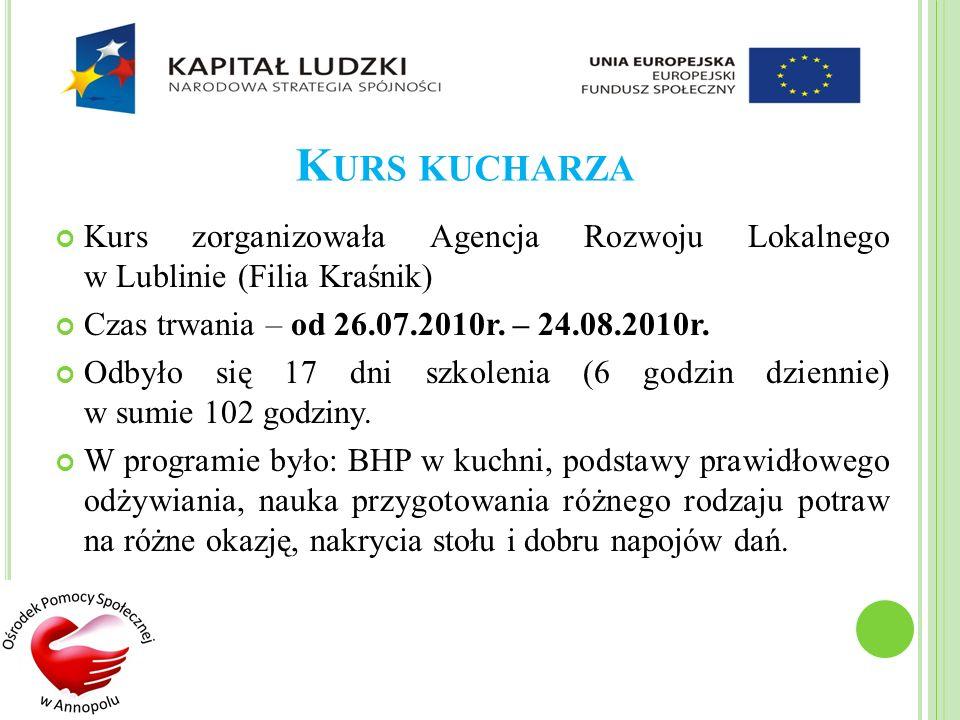 K URS KUCHARZA Kurs zorganizowała Agencja Rozwoju Lokalnego w Lublinie (Filia Kraśnik) Czas trwania – od 26.07.2010r. – 24.08.2010r. Odbyło się 17 dni