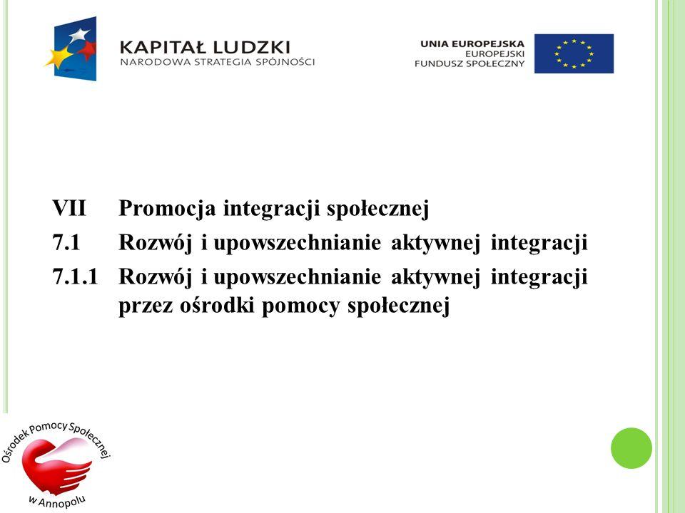 VIIPromocja integracji społecznej 7.1Rozwój i upowszechnianie aktywnej integracji 7.1.1 Rozwój i upowszechnianie aktywnej integracji przez ośrodki pom