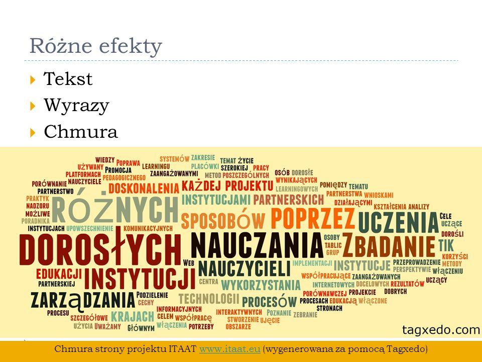 Różne efekty Tekst Wyrazy Chmura Chmura strony projektu ITAAT www.itaat.eu (wygenerowana za pomocą Tagxedo)www.itaat.eu