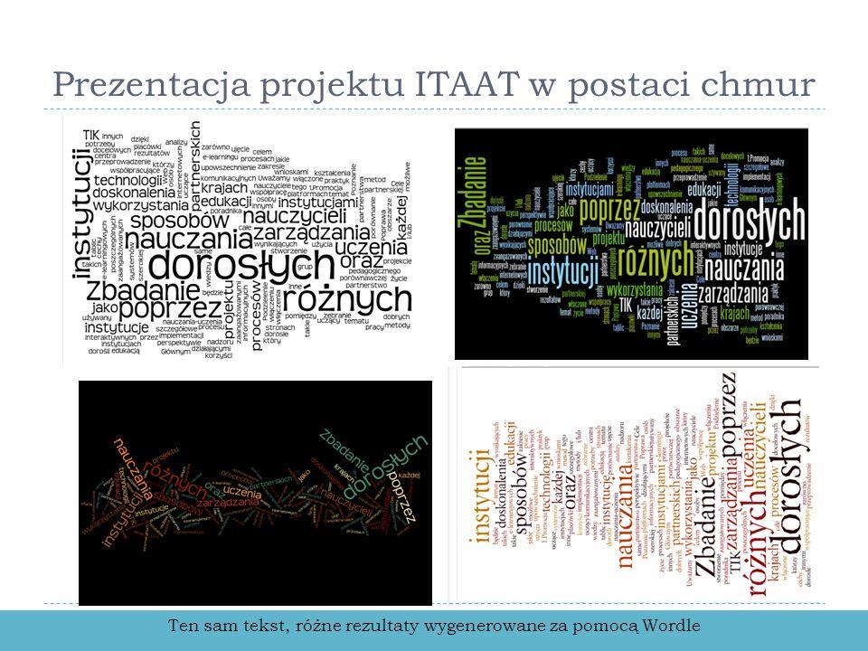 Prezentacja projektu ITAAT w postaci chmur Ten sam tekst, różne rezultaty wygenerowane za pomocą Wordle