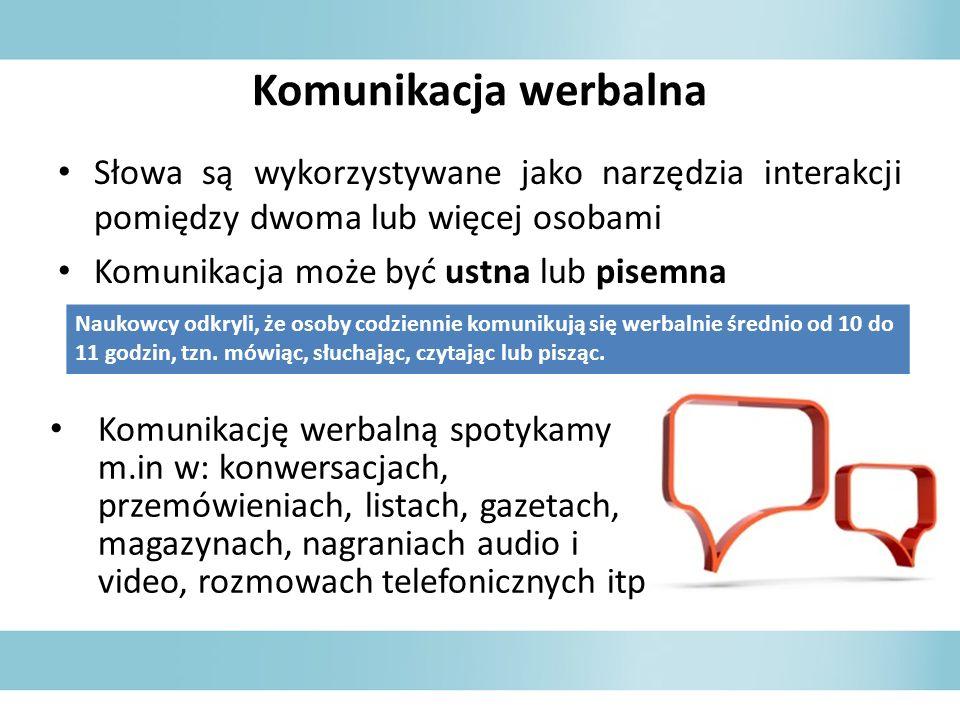 Komunikacja werbalna Słowa są wykorzystywane jako narzędzia interakcji pomiędzy dwoma lub więcej osobami Komunikacja może być ustna lub pisemna Naukow