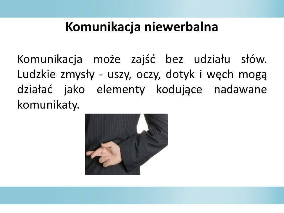 Komunikacja niewerbalna Komunikacja może zajść bez udziału słów. Ludzkie zmysły - uszy, oczy, dotyk i węch mogą działać jako elementy kodujące nadawan