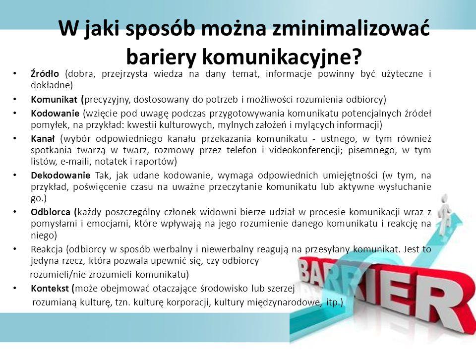 W jaki sposób można zminimalizować bariery komunikacyjne? Źródło (dobra, przejrzysta wiedza na dany temat, informacje powinny być użyteczne i dokładne