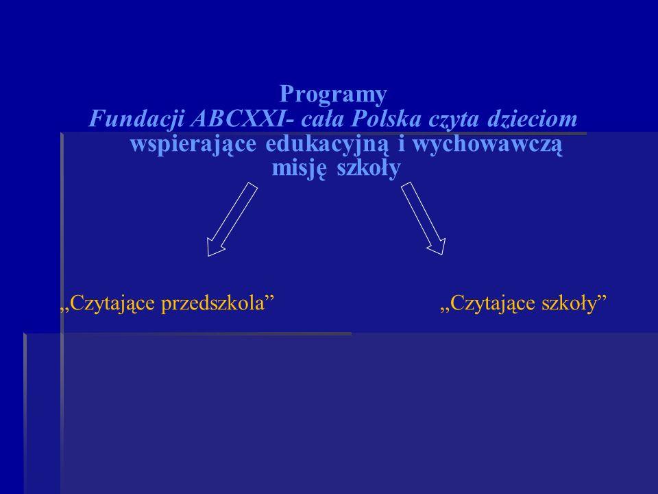 Programy Fundacji ABCXXI- cała Polska czyta dzieciom wspierające edukacyjną i wychowawczą misję szkoły Czytające przedszkola Czytające szkoły