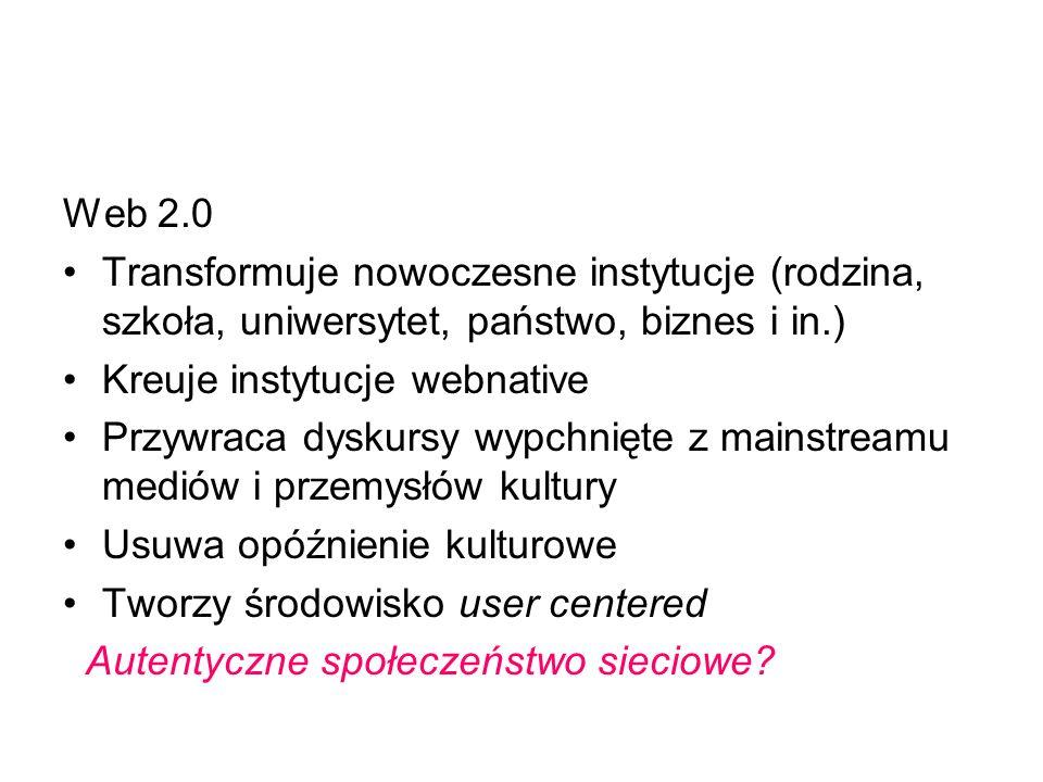 Web 2.0 Transformuje nowoczesne instytucje (rodzina, szkoła, uniwersytet, państwo, biznes i in.) Kreuje instytucje webnative Przywraca dyskursy wypchn