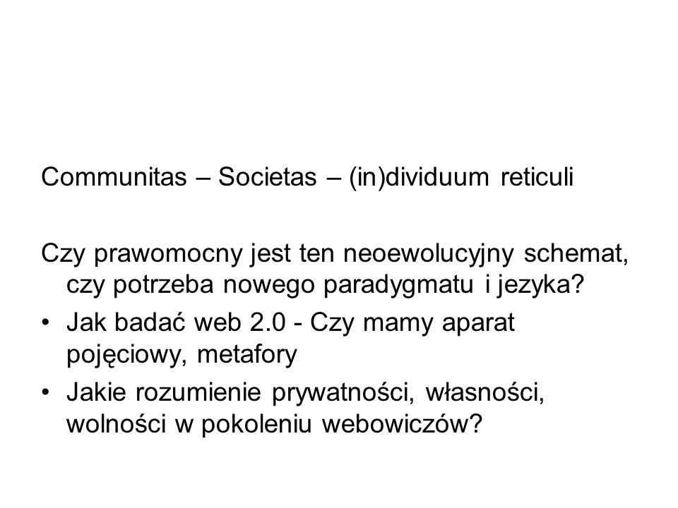 Communitas – Societas – (in)dividuum reticuli Czy prawomocny jest ten neoewolucyjny schemat, czy potrzeba nowego paradygmatu i jezyka? Jak badać web 2