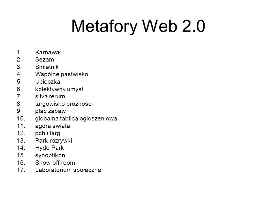 Metafory Web 2.0 1.Karnawał 2.Sezam 3.Śmietnik 4.Wspólne pastwisko 5.Ucieczka 6.kolektywny umysł 7.silva rerum 8.targowisko próżności 9.plac zabaw 10.