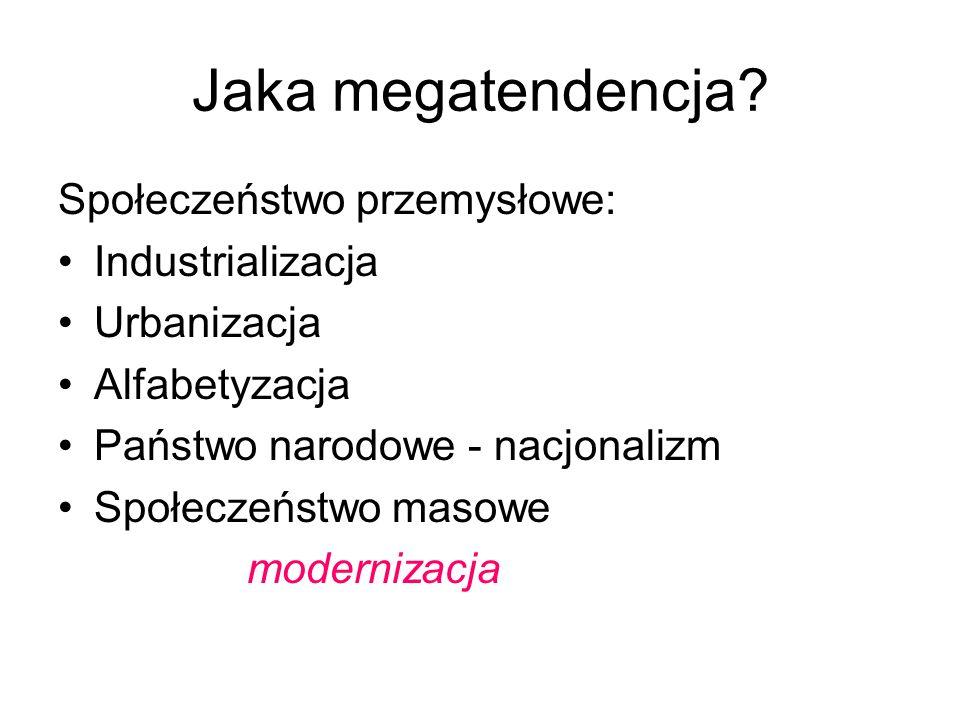 Jaka megatendencja? Społeczeństwo przemysłowe: Industrializacja Urbanizacja Alfabetyzacja Państwo narodowe - nacjonalizm Społeczeństwo masowe moderniz
