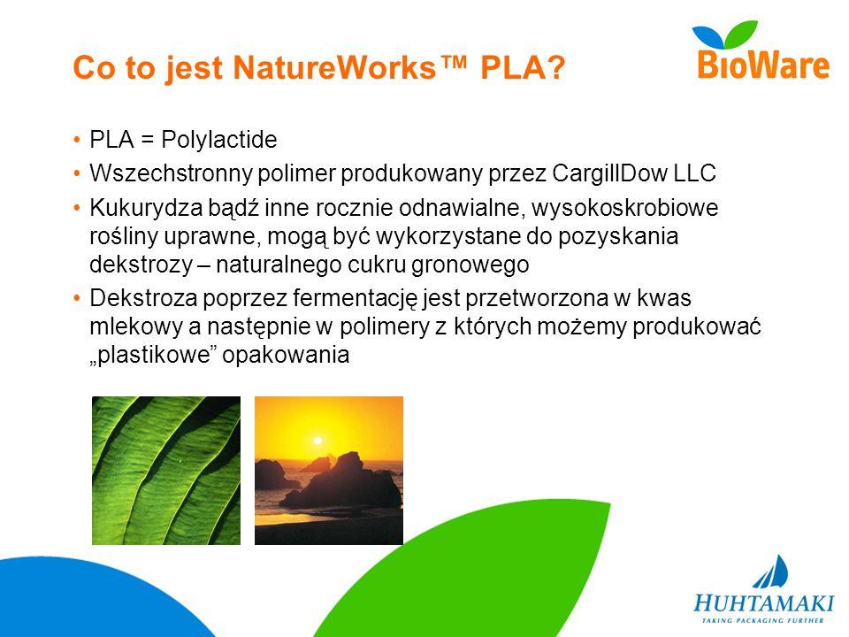 Co to jest NatureWorks PLA? PLA = Polylactide Wszechstronny polimer produkowany przez CargillDow LLC Kukurydza bądź inne rocznie odnawialne, wysokoskr