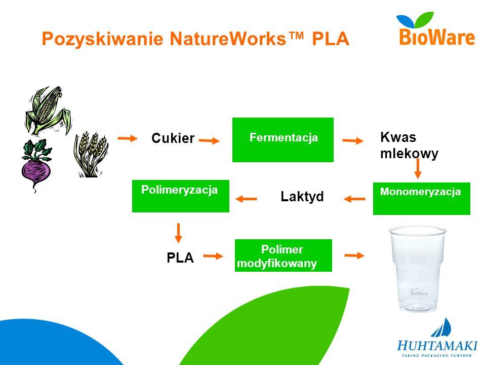 Kwas mlekowy Fermentacja Cukier Pozyskiwanie NatureWorks PLA Polymer Modification Laktyd Monomeryzacja PLA Polimeryzacja Polimer modyfikowany