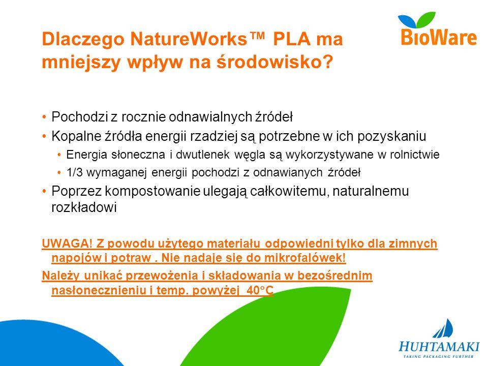 Dlaczego NatureWorks PLA ma mniejszy wpływ na środowisko? Pochodzi z rocznie odnawialnych źródeł Kopalne źródła energii rzadziej są potrzebne w ich po