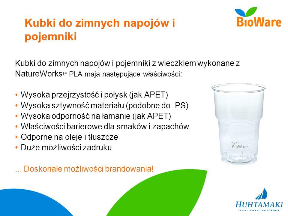 Kubki do zimnych napojów i pojemniki Kubki do zimnych napojów i pojemniki z wieczkiem wykonane z NatureWorks TM PLA maja następujące właściwości : Wys