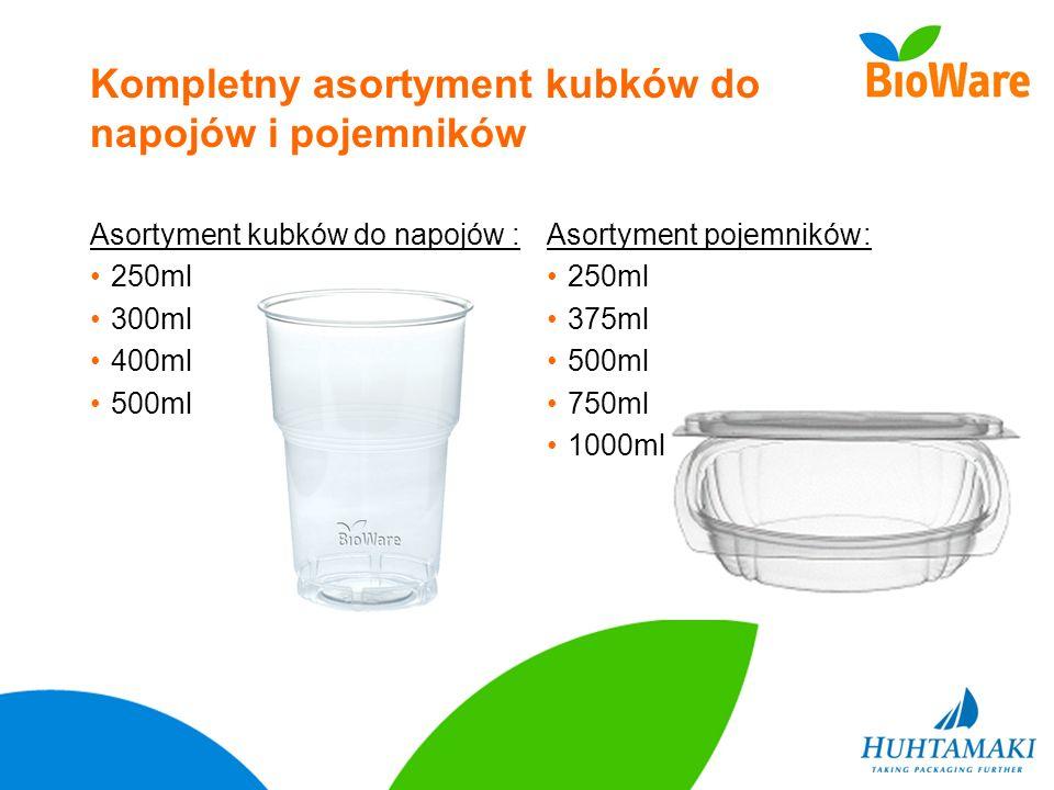 Kompletny asortyment kubków do napojów i pojemników Asortyment kubków do napojów: 250ml 300ml 400ml 500ml Asortyment pojemników: 250ml 375ml 500ml 750